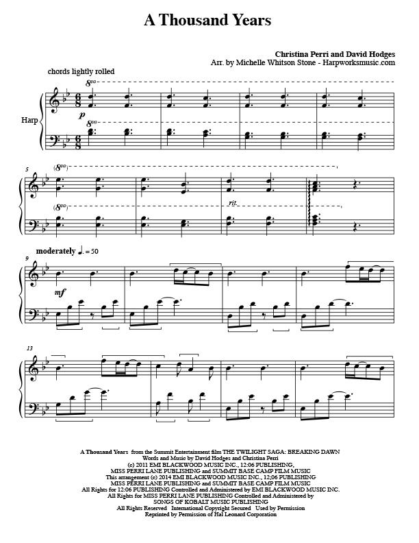 A Thousand Years Harp Column Music